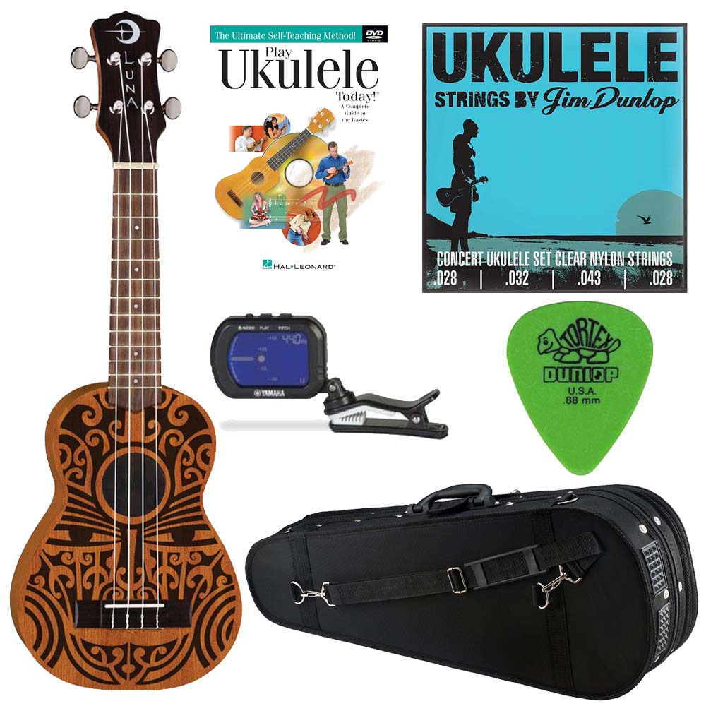 Luna TRIBAL CONCERT Ukulele w/ Knox Padded Case, Tuner, Strings and Picks & DVD