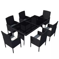 HERCHR 7 Piece Outdoor Dining Set with Cushions Poly Rattan Black