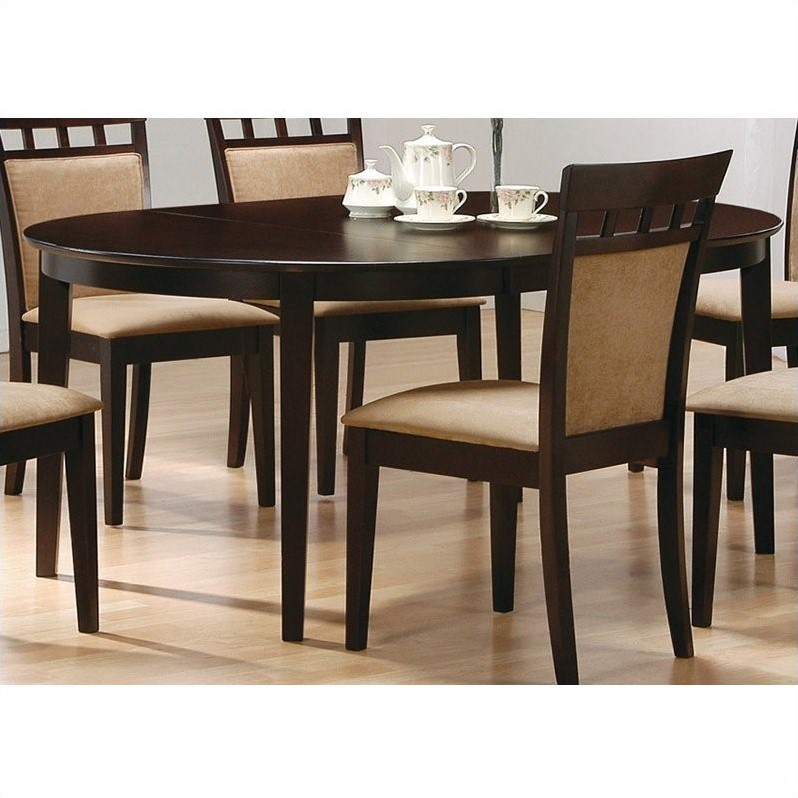 Coaster Cappuccino Oval Dining Table With Leaf In Cappuccino Finish 100770