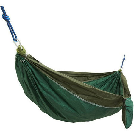 Survival Gear 1-Person High-Thread-Count Parachute Hiking and Camping Hammock with Ropes and Carabiners