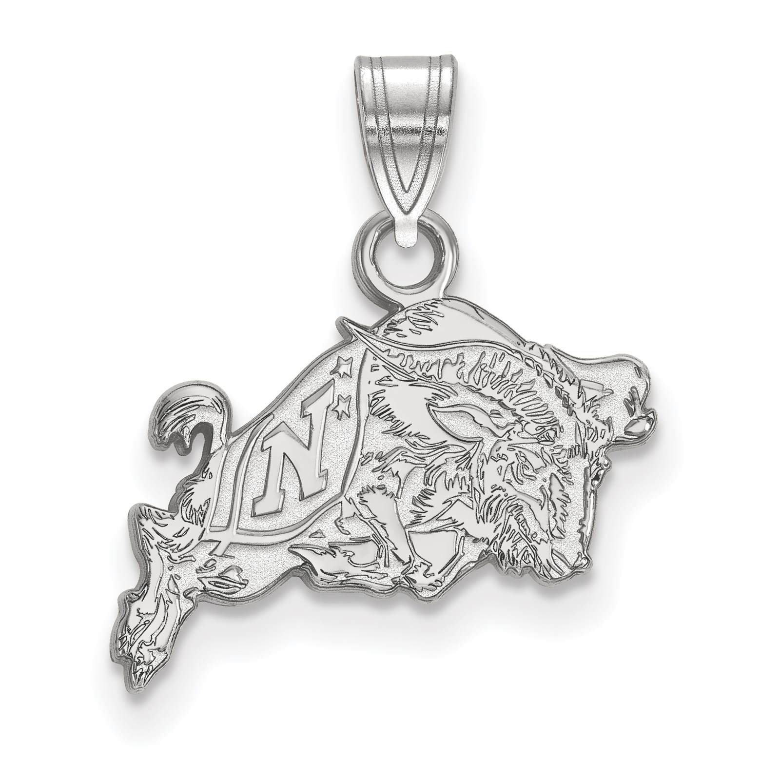 925 Silver Rhodium-plated Laser-cut United States Naval Academy Small Pendant