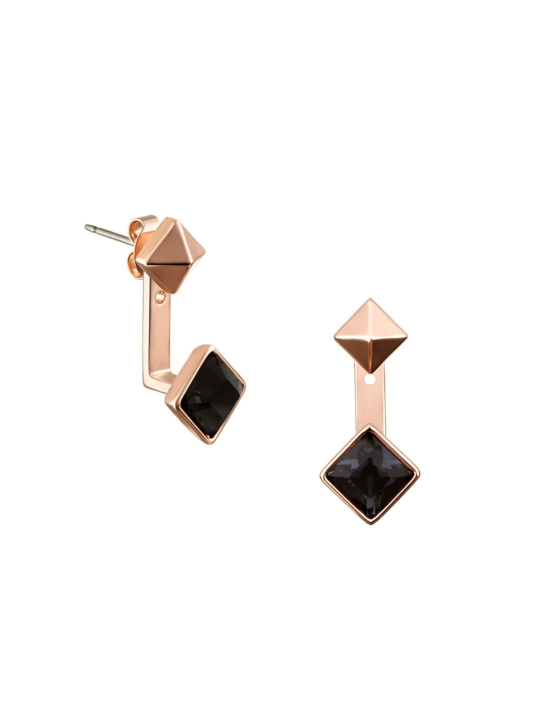 Essentials Pyramid Swarovski Crystals Jacket Earrings