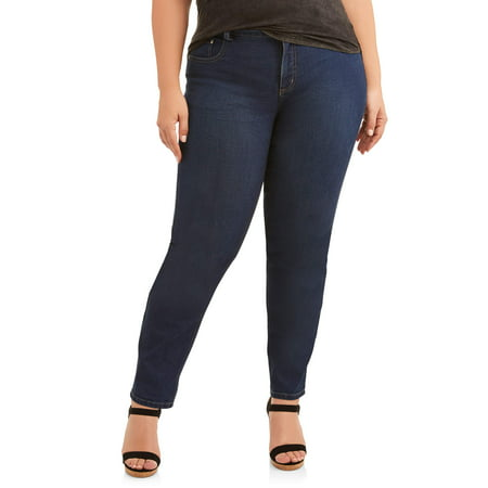 - Women's Plus-Size 5 Pocket Stretch Jean, available in regular and petite sizes