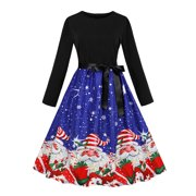 Women's Casual Belt Long Sleeve Christmas Evening Party Swing Prom Dress