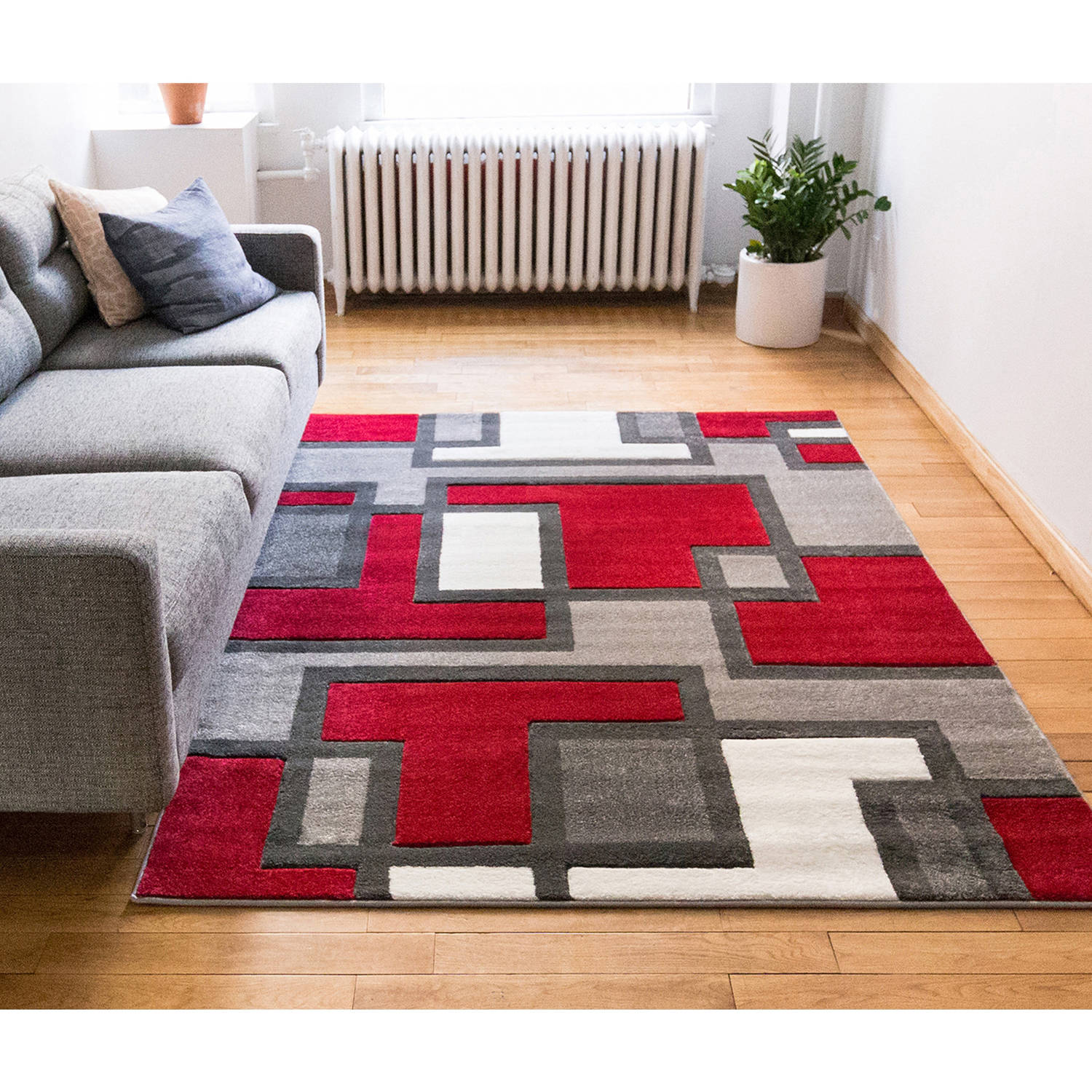 Well Woven Ruby Imagination Squares Contemporary Area/Runner Rug