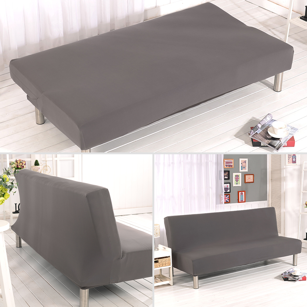 Stretch Armless Sofa Bed Cover Velvet Elastic Folding Futon Couch Slipcover USA
