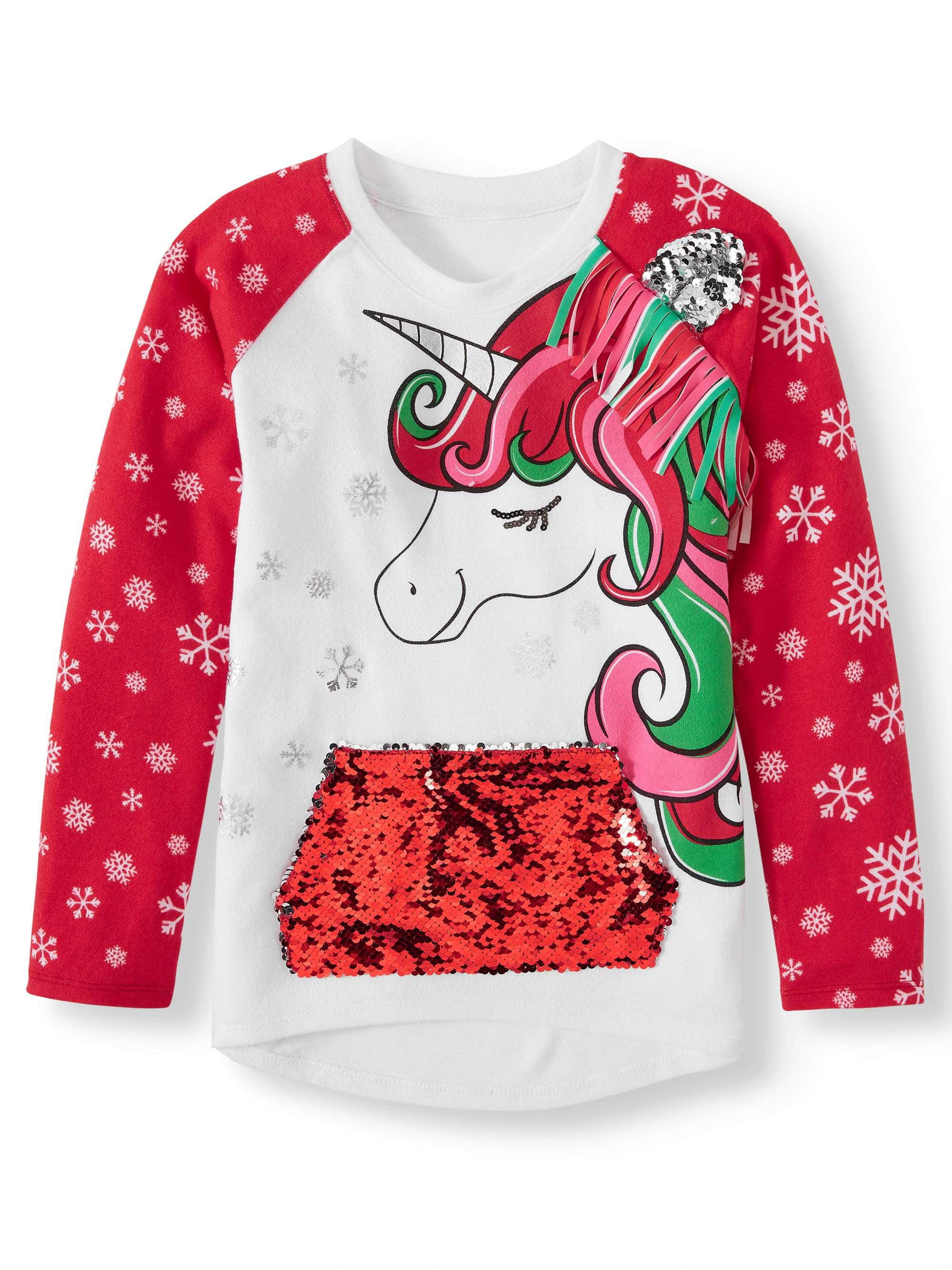 4//5 Sequins Little Girls/' Pink Llama wearing Headphones Christmas Sweater M