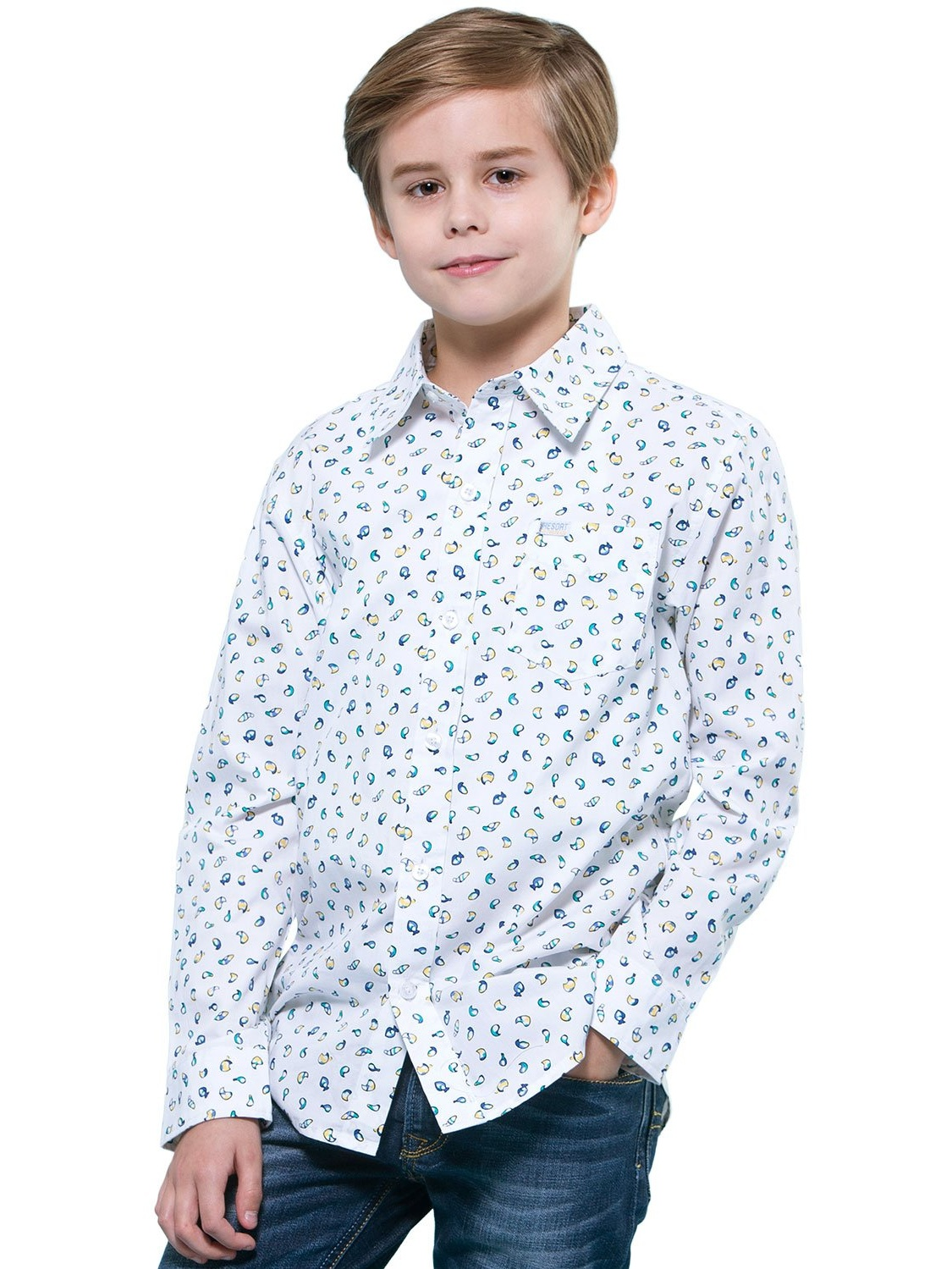 Leo&Lily Boys'Kids Casual Dressing Cotton Print Woven Button Down Shirts
