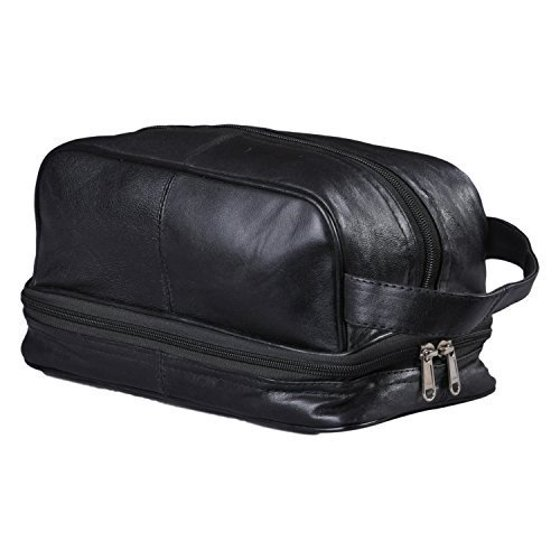 482a010947bf New Leather Toiletry Bag Shaving Kit Travel Case Tote Make Up Zippered  Vanity - Walmart.com