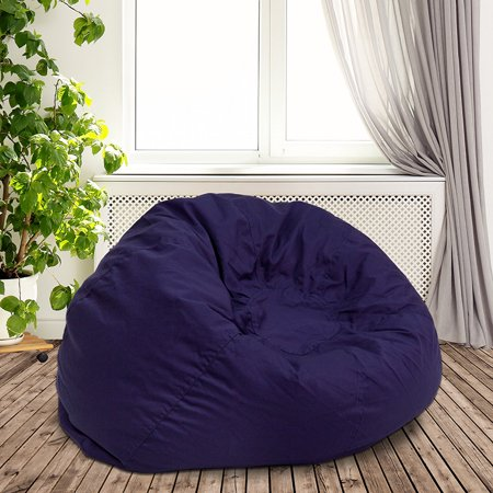 Oversized Solid Navy Blue Bean Bag Chair for Kids and Adults ()