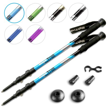 High Trek Trekking Poles (Pair) w/Sweat Absorbing EVA Grips - Your Collapsible Hiking Poles/Lightweight Walking Stick Set - Tungsten Tips and Flip Locks - Hiking Sticks for Men & Women Sky