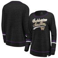 Washington Huskies Fanatics Branded Women's Speckle Sleeve Striped Long Sleeve T-Shirt - Black/Purple