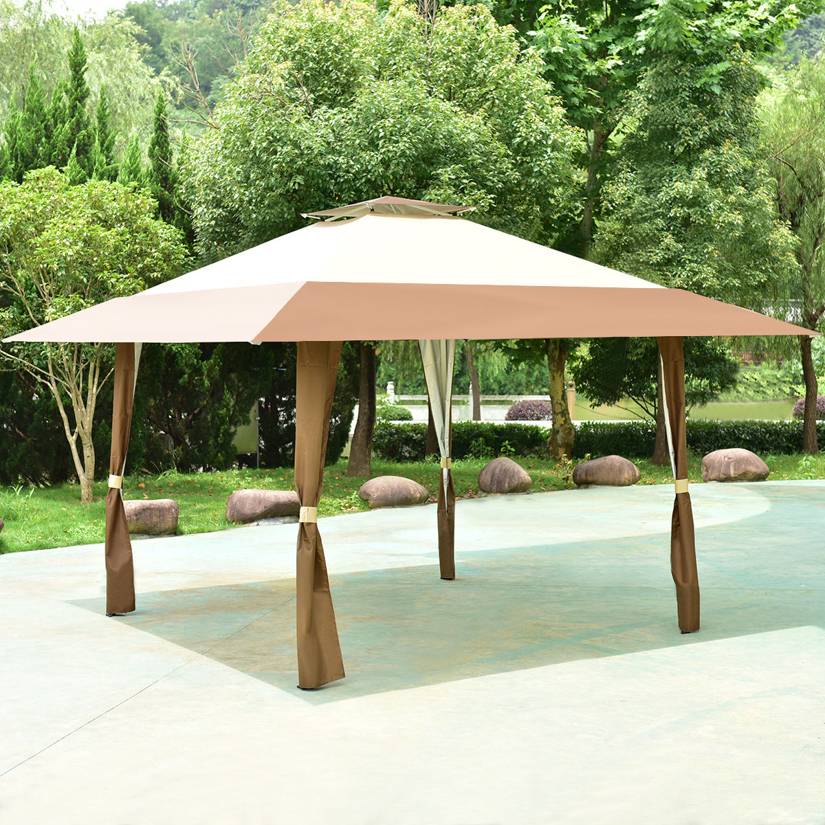 Costway 13'x13' Folding Gazebo Canopy Shelter Awning Tent Patio Garden Outdoor Companion by Costway