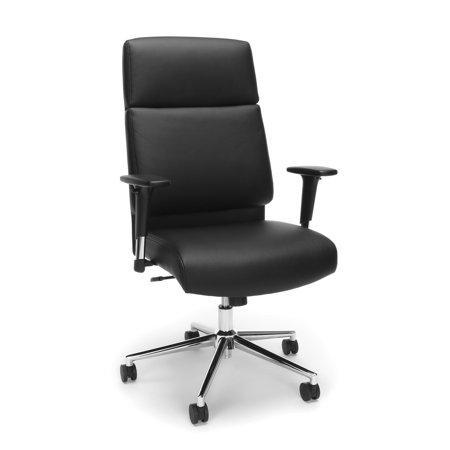 OFM Model 568 High-Back Bonded Leather Manager's Chair, Black with Chrome Base ()