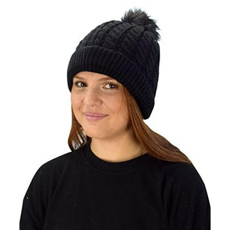 Peach Couture Classic Womens Warm Hand Knit Pom Thick Winter Ski Snowboard Hat Black 18