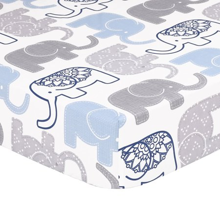 The Peanut Shell Baby Boy Fitted Crib Sheet - Little Peanut Navy Blue and Grey Elephants - 100% Cotton Sateen, Fits Standard 52 by 28 Inch (Peace On Earth Little Drummer Boy Sheet Music)