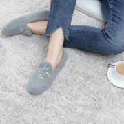 Women's Soft Memory Foam Ballerina Slippers Cashmere Lightweight Breathable Spa House Shoes with Rhinestone Dcor