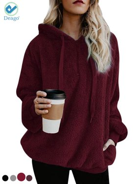 4bc80733868 Product Image Deago Women s Fuzzy Casual Loose Sweatshirt Pullover Hoodies  Long Sleeve Sweater with Pockets Fashion Outwear