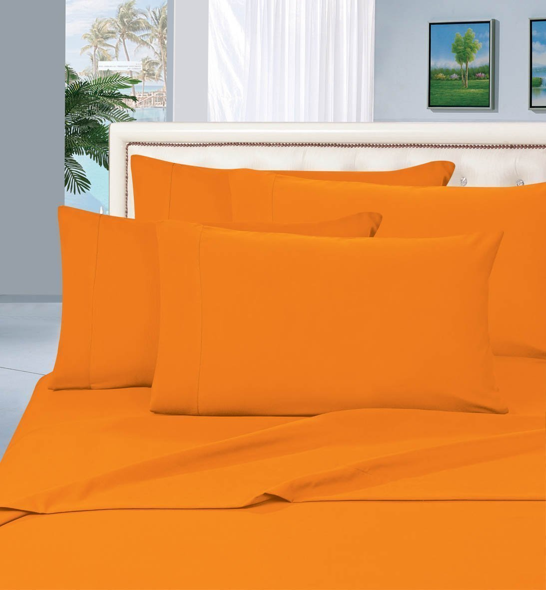 "WRINKLE & FADE RESISTANT 1500 THREAD COUNT Egyptian Quality Luxury 2-PIECE Duvet Cover Set , Twin/Twin XL, Orange, Duvet set includes 1 Duvet Cover 69"" x 90"".., By Elegant Comfort"