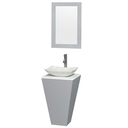 (Wyndham Collection Esprit 20 inch Pedestal Bathroom Vanity in Gray, White Man-Made Stone Countertop, Arista White Carrera Marble Sink, and 20 inch Mirror)