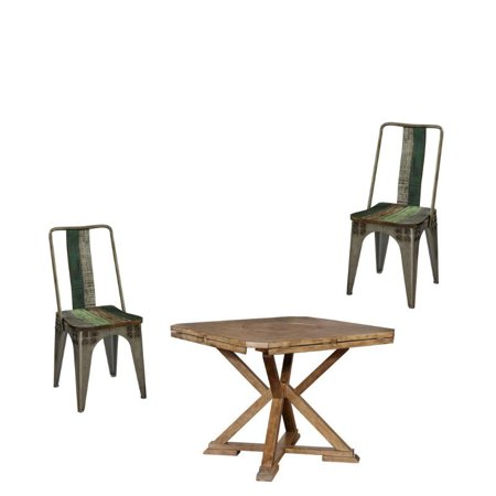 3 Piece Pub Table in Weathered Oak and Wood and Iron Dining Chair