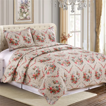Cozy Line Home Fashions Floral White Red Colorful Reversible Quilt Bedding Set 100% Microfiber Bedspread, Colverlet for Women & Men's Bedroom - 1 Quilt and 2 Pillow Shams (King- 3 Piece)