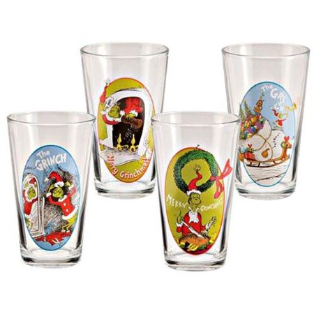 Dr. Seuss The Grinch Who Stole Christmas 16 Oz Glass Set Of 4
