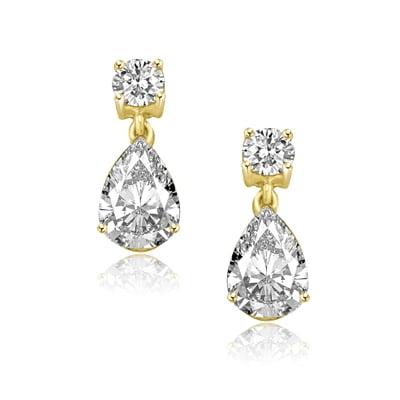 Diamond Essence Drop Earrings with Pear cut and Round Brilliant Stones, 8.0 (Round Brilliant With Pear Shaped Side Stones)