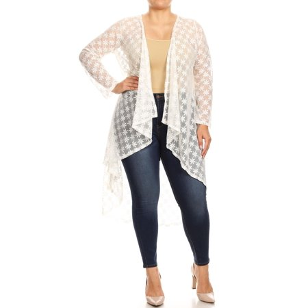 NEW MOA Women's Lightweight Sheer Lace Duster Cardigan with Draped Neck/Made in USA