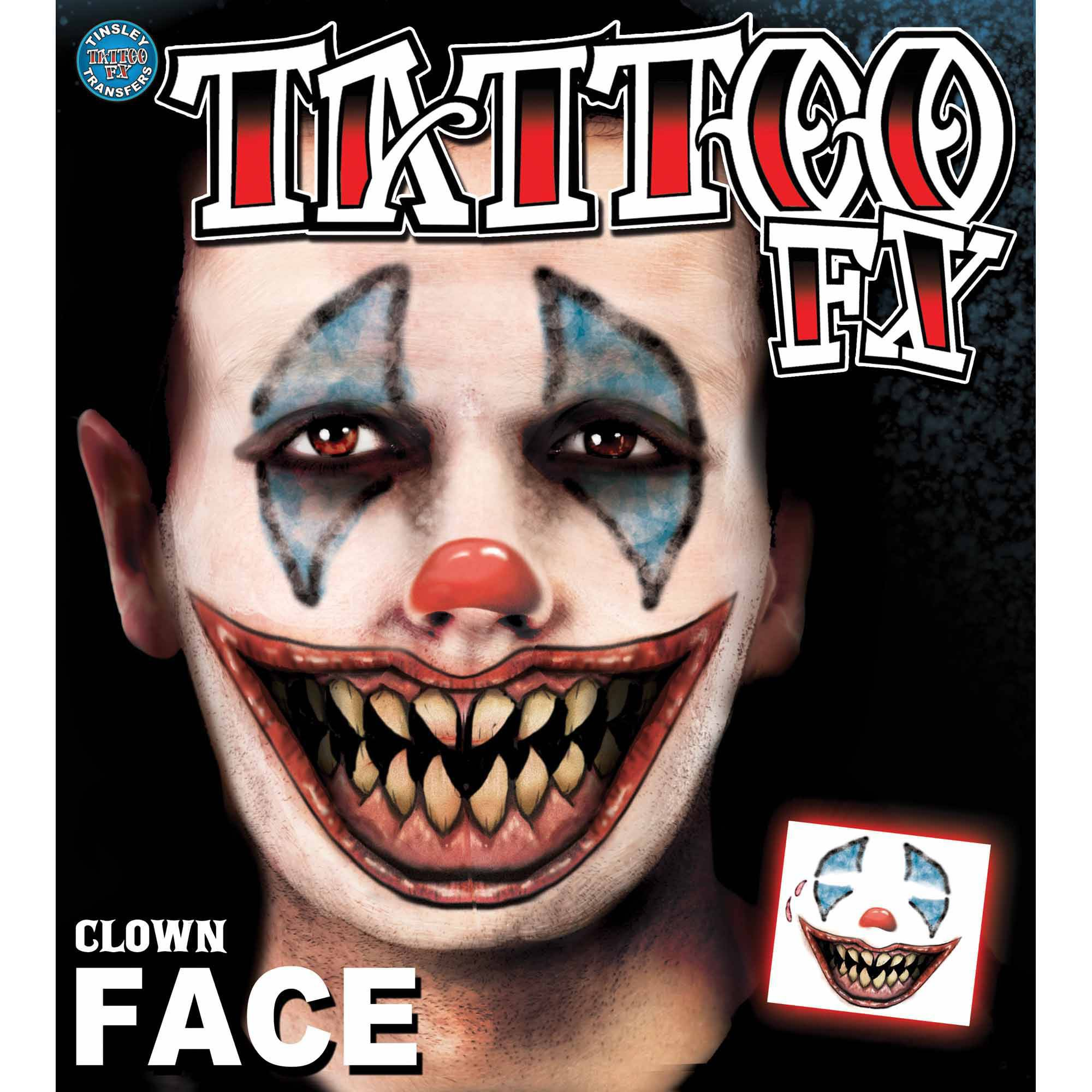 Clown Face Tattoo Adult Halloween Accessory