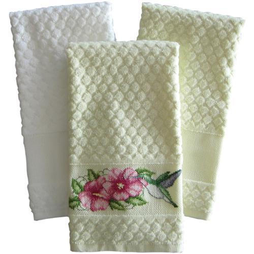 """Estate Diamond Weave Towel 16""""X24""""-Ecru"""