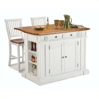 Bowery Hill Kitchen Island and Stools in White and Distressed Oak