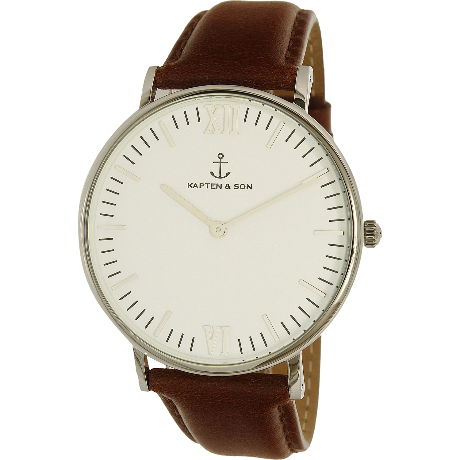 Kapten And Son Men's Campus CAMPUS-WHITE-BROWN LEATHER-SILVER-40MM Silver Leather Analog Quartz Dress Watch