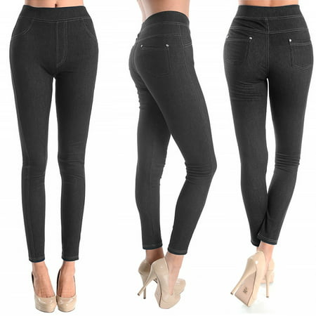 Women Skinny Jegging Blue Stretchy Sexy Pants Pencil Leggings Jeans Soft SM L (Blue Jean Denim)