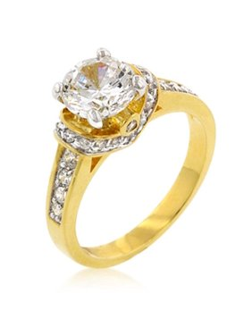 Kate Bissett R08089T-C01-05 Genuine Rhodium Plated Engagement Ring with Round Cut Clear CZ in Goldtone - Size 5