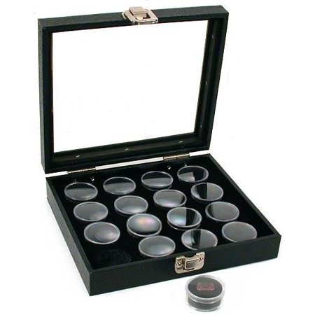 16 Gem Jars Black Display Tray Glass Lid Travel Case