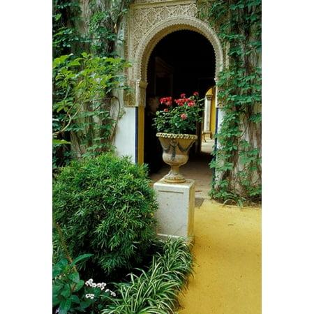 Planter and Arched Entrance to Garden in Casa de Pilatos Palace Sevilla Spain Poster Print by John & Lisa Merrill - Decorar Casa De Halloween