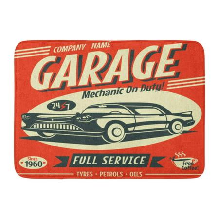 LADDKE Vintage Retro Car Service Sign Classic Garage Race Auto Mechanic Doormat Floor Rug Bath Mat 23.6x15.7 inch