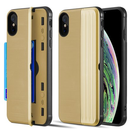 Apple iPhone XS Max Case, by Insten The Kard Dual Layer Hybrid Stand PC/TPU Rubber ID/Card Slot Case Cover For Apple iPhone XS Max - Gold