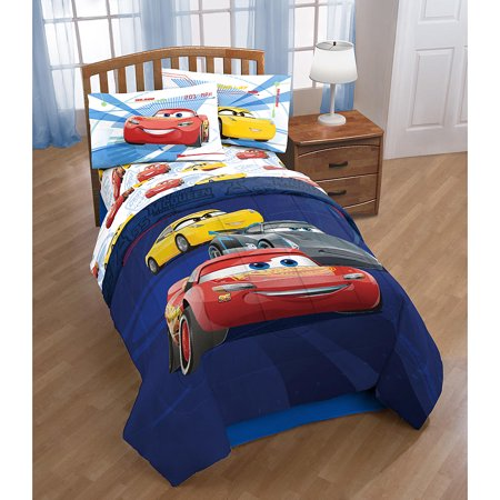 Cars Lightning McQueen Boys Kids Twin Comforter & Sheets K (4 Piece Bed In A Bag)