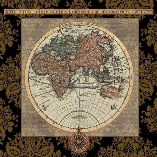 Damask on Black Map I Poster Print by Elizabeth Medley