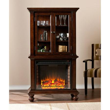 Southern Enterprises Bryer Electric Fireplace Curio Console, Espresso