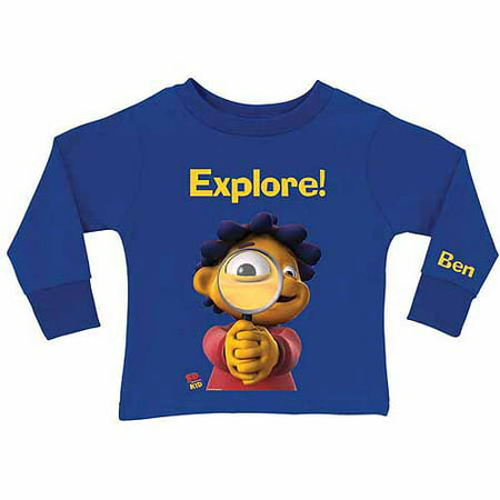 Personalized Sid the Science Kid Explore Toddler Boy Royal Blue Long Sleeve Tee ()