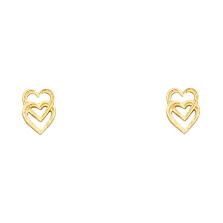 Jewels By Lux 14K Yellow Gold Small Heart Post Womens Stud Earrings 9MM X 6MM