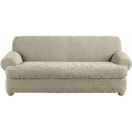 sure fit stretch jacquard damask 2-pc. t-cushion sofa slipcover