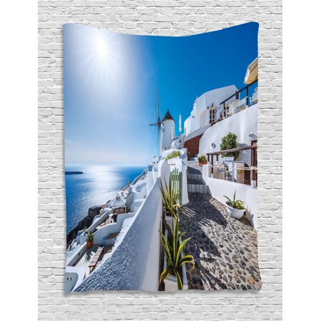Summer Tapestry, Ancient Oia Village in Santorini Island Greece with Aegean Sea Scenery Image, Wall Hanging for Bedroom Living Room Dorm Decor, Blue and White, by (Best Scenery For Bedroom)