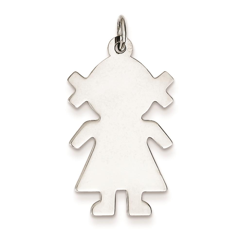 925 Sterling Silver Engravable Girl Disc Polished Charm Pendant 28mmx16mm
