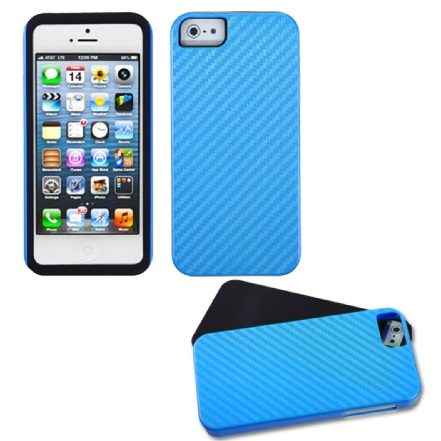 Insten Blue Crosshatch Fusion Case For iPhone SE 5S 5