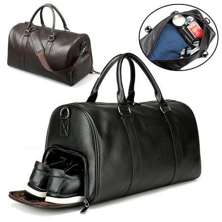 Vintage PU Leather Oversized Weekender Duffel Bag Overnight Handbag