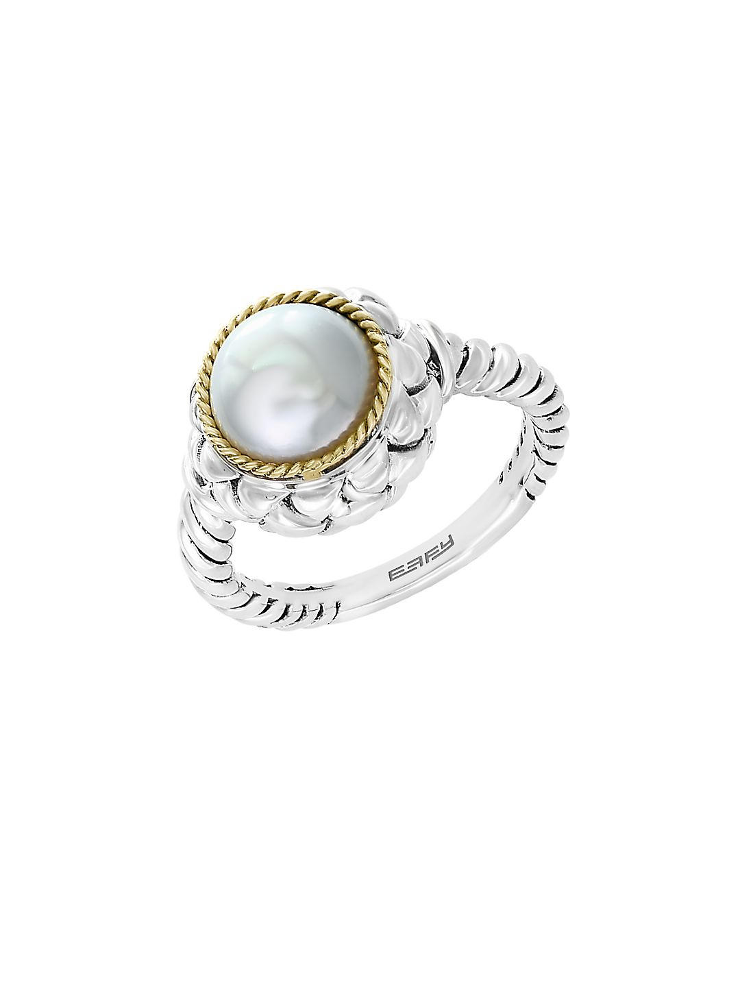 925 Sterling Silver, 18K Yellow Gold & 9mm Round Freshwater Pearl Ring
